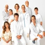 Arrested Development cast in white outfits