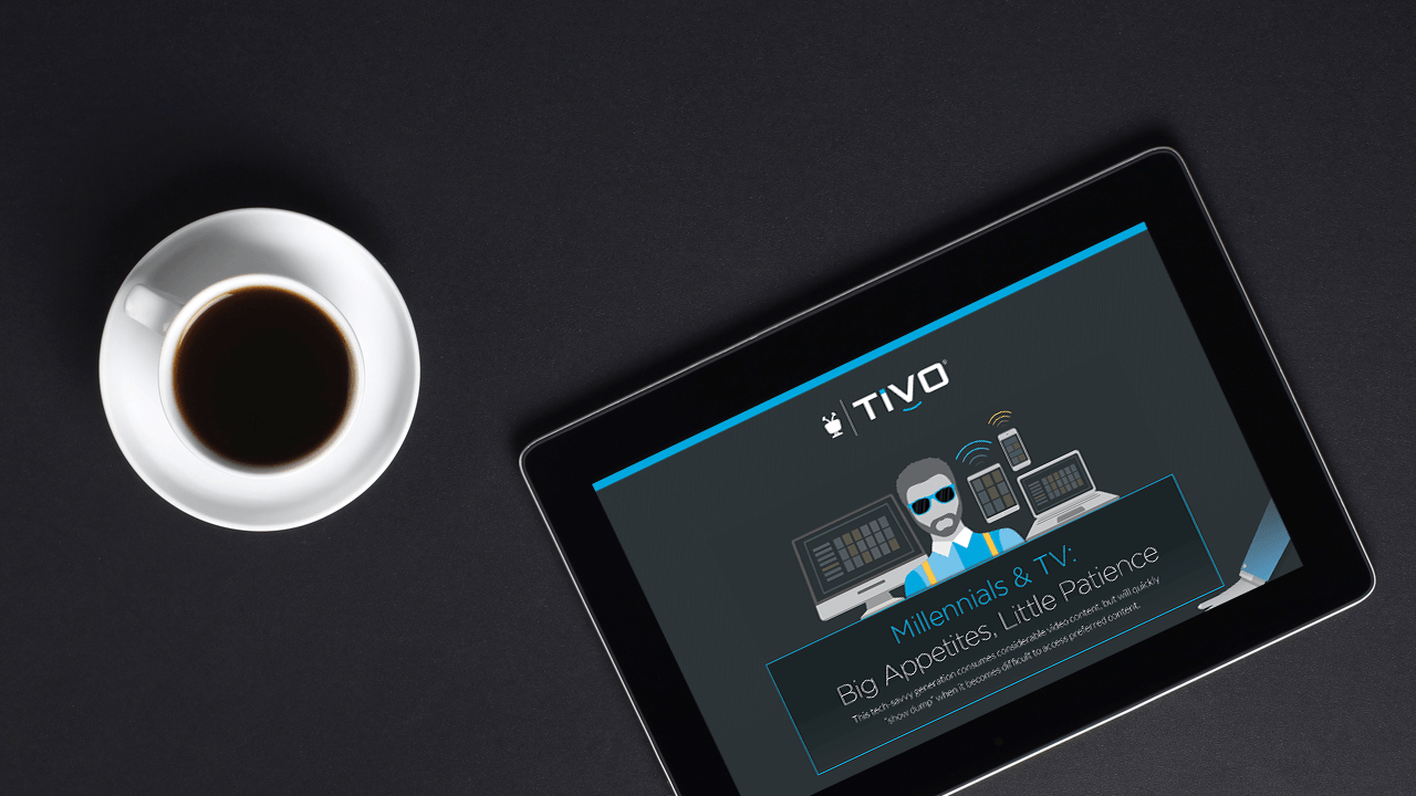 tablet showing tivo interface, coffee cup, millennials lifestyle