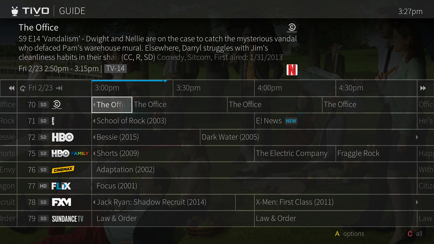 TiVo Guide shows you what's happening on all your channels for the next 2 weeks.