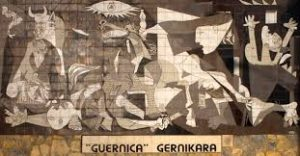 Picasso painting - Guernica. Features abstract, cubist angles.